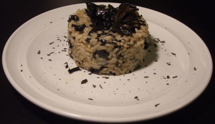 'Preboggion' risotto with black horn of plenty mushrooms and Montebore toma cheese